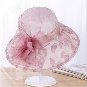 2017 Elegant Fashion Women's Church Hats For Women Flower Hat Summer Gorras Sun Hat Wedding Kentucky Derby Wide Brim Sea Beach