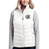 Ladies lightweight puffy vest, monogrammed and personalized.