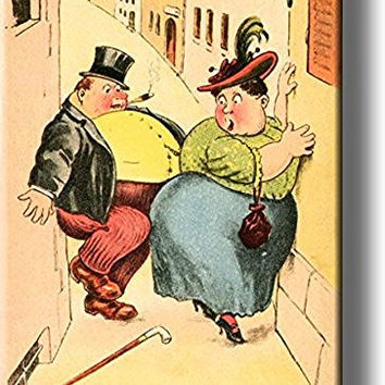 Too Fat to Pass Vintage Comic Picture on Stretched Canvas, Wall Art Decor, Ready to Hang!