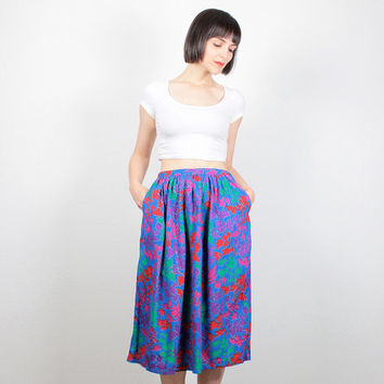 Vintage Midi Skirt 1980s 80s High Waisted Skirt Bright Blue Floral Print Knee Length Skirt New Wave Pockets Draped Rainbow Skirt S Small