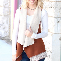 Snuggle Up Lace Trim + Fur Lined Vest {Tan}