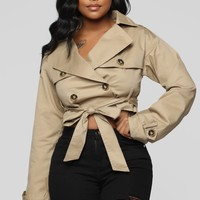 Kylie Cropped Trench Jacket - Sand