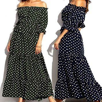 Summer Dresses Women Bohemian Strapless Bandage Polka Dot Sleeve Print Beach Dress New Fashion