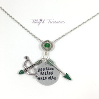 Green Arrow - You Have Failed This City - Hand Stamped Charm Necklace
