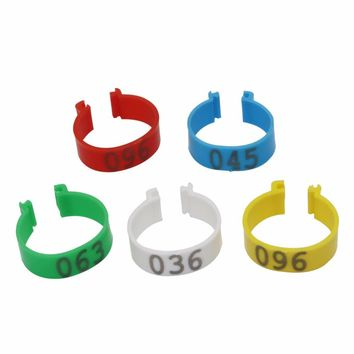 100 Pcs Inner Diameter 2.5cm NO.001-100 Poultry Digital Clip Ring Chickens Duck Geese Adult Turkey 5 Colors Poultry Foot Ring