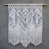 "39"" Macrame wall hanging Large white tapestry Big boho wall decor Woven wall hanging Weaving wall art Bohemian home decor Hippie decor"