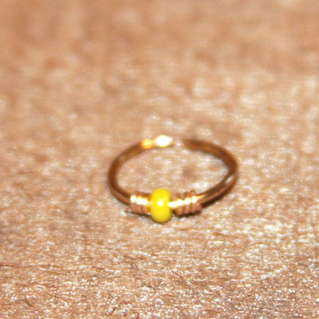 Small Nose Ring, Yellow Beaded Nose Ring, Nose Hoop, Ear Cuff, Cartilage Hoop, Endless Hoop, Seamless Hoop, Piercing Jewelry, Septum Ring