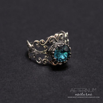 Fantasy Gothic ring - CHOOSE your color - Engagement ring in silver tone with Swarovski crystal - Victorian Gothic Jewelry