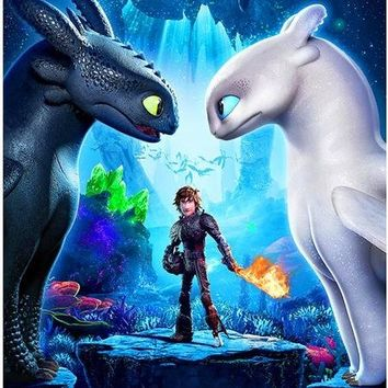 5D Diamond Painting Hiccup, Toothless and Light Fury How to Train a Dragon Kit