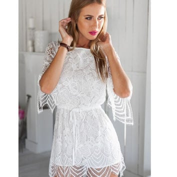 Lace Half Sleeve Open-Back Romper