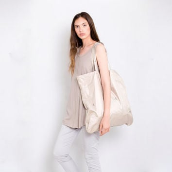 Big bag beige metallic summer screen print tote bag