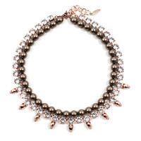 Midnight Rose Crystal & Skull & Necklace with Pearls - Crystal/ Brown Pearls