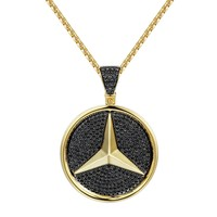Black Iced Out Luxury Car Logo Pendant Chain