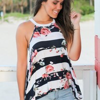 Navy and Ivory Floral Striped Top