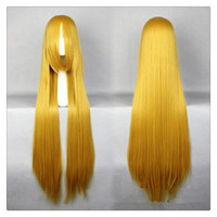 "Women Fashion 100CM/39"" Long straight Cosplay Fashion Wig heat resistant resistant Hair Full Wigs  golden"
