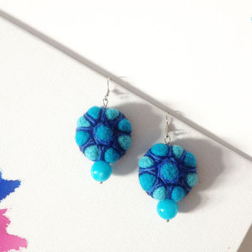 Blue Felted Earrings with blue sky turquoise stone - Dangle Earrings -Felt wool earrings - Pearl Earrings, Embroidered earrings