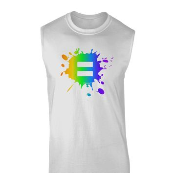 Equal Rainbow Paint Splatter Muscle Shirt  by TooLoud