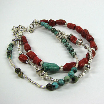 Turquoise and coral bracelet Sterling silver beaded bracelet Multistrand layered bracelet  Multi strand stacking bracelet  Beaded jewelry