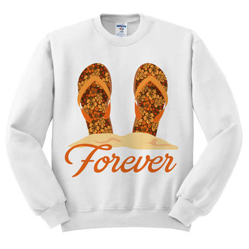 White Crewneck - Flip Flops Forever - Sweatshirt Sweater Jumper Pullover Beach Spring Summer Outfit Sandals