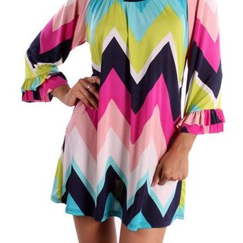 Chevron Colorful Top Pink Mint Lime