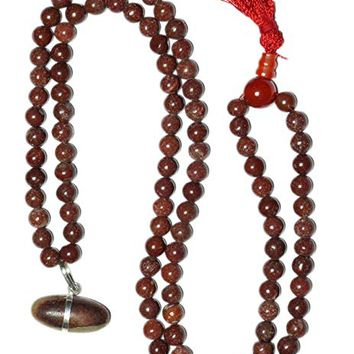Shiva Lingam Spiritual Mala Beads Power Energy Sunstone Yoga Necklace