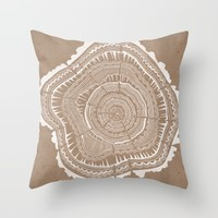 Tree Rings – White Ink on Kraft Throw Pillow by Cat Coquillette
