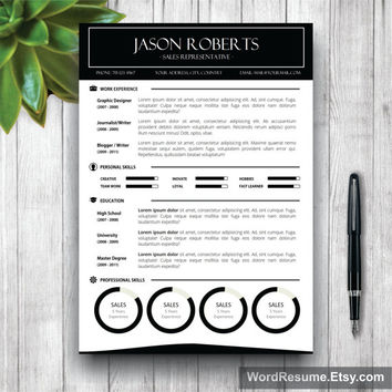 Black and White Resume Template + Cover Letter, CV Template (US Letter, A4), Professional Resume, Creative  Resume, Instant Download Resume