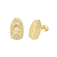 10k Yellow Gold Guadalupe Virgin Mary Earrings with Screwbacks