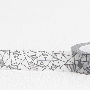 Modernist Stained Glass Washi Tape, Cracked Glass Black Gray and White Paper Tape, 15mm