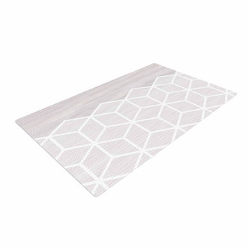 "Draper ""Geo White Woodgrain "" Gray White Woven Area Rug"