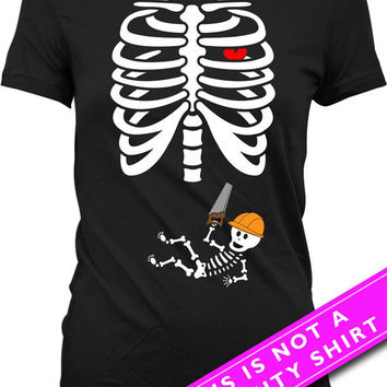 Pregnant Skeleton Shirt Halloween Pregnancy Announcement T Shirt Pregnancy Reveal Shirt Skeleton Baby Construction T-Shirt Ladies Tee MAT-42