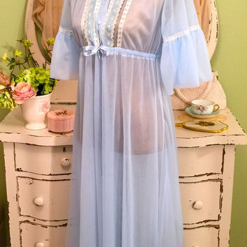 60s Baby Blue Robe, Sheer Nylon Peignoir, 1960s Dressing Gown, Lace Chiffon Robe, Vintage Nightwear, Nylon Robe, Womens Size Medium Small