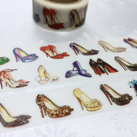 Shoes washi tape 7M x 2 cm shoes planner sticker high heel shoes high fashion shoes designer shoes lady shoes deco tape girl shopping list