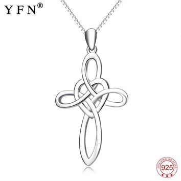 925 Sterling Silver Necklace Religious Necklace Love Heart Fashion Cross Pendants Necklaces Sweet Jewelry For Women GNX13884
