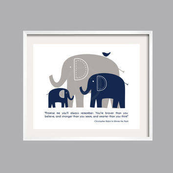 Always Remember Print, Wall Art, Inspirational, Nursery Decor, Baby shower gift, Pooh Quote, Navy and Gray, 16x20 for boy or girl