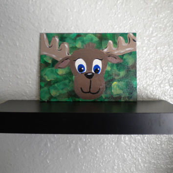 Moose on camo- Original acrylic moose painting- Childrens Room Art
