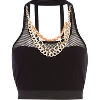 Black Pacha mesh chain trim crop top - pacha - swimwear / beachwear - women