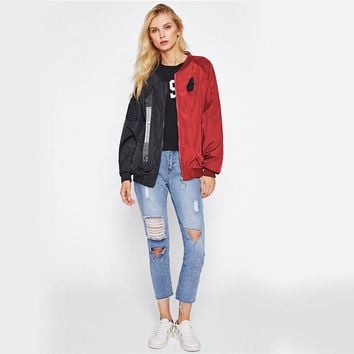 Patchwork Casual Bomber Jacket