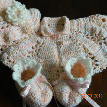 PEACHES n CREAM 3 pc. crocheted Poncho, Floppy hat, peachy pink,booties with ruffle edge/photo prop/Newborn baby/Christening/FREE Ship
