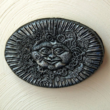 Steampunk Sunface Stone Art by InnovativeStoneArt on Etsy