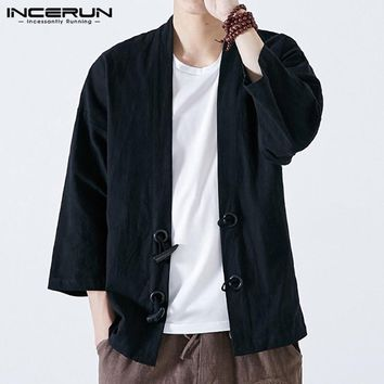 Japan Style Men Kimono Cardigan INCERUN Men Clothing Coats Jackets Vintage Open Stitch Retro Button Long Sleeve Fall Spring Male
