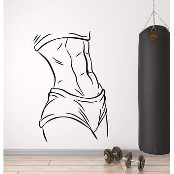 Vinyl Wall Decal Muscles Beautiful Sexy Body Fitness Girl Gym Stickers (3084ig)