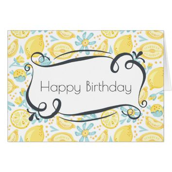 Yellow Lemons & Blue Flowers Happy Birthday Card