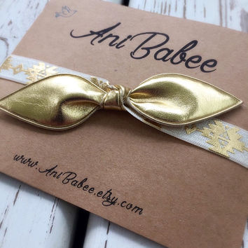 Gold bow baby headband, baby headbands, tribal pattern, infant bow headband, girls headband, teen, womens