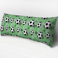 Green Soccer Body Pillow -  Soccer Ball and Goal Pattern on Green - 20 x 54 Body Pillow or Body Pillow Cover - Made to Order