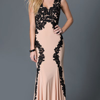 Sleeveless Lace Embellished Floor Length Betsy and Adam Prom Dress