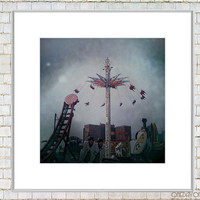 Coney Island Art - Top of the World - Brooklyn Fine Art Square Matted Mini Print