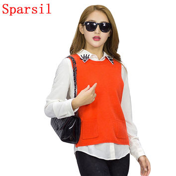 Sparsil Women's O-Neck Pullovers Knitted Shrug Female Cashmere Blend Sleeveless Split Solid Color Knitwear With Pockets