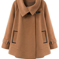 Cape-Style Long Sleeve Worsted Coat