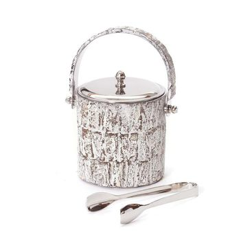 Whitewash Stainless Steel Ice Bucket and Tongs